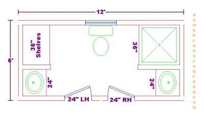 free bathroom plan design ideas - jack and jill 6x12