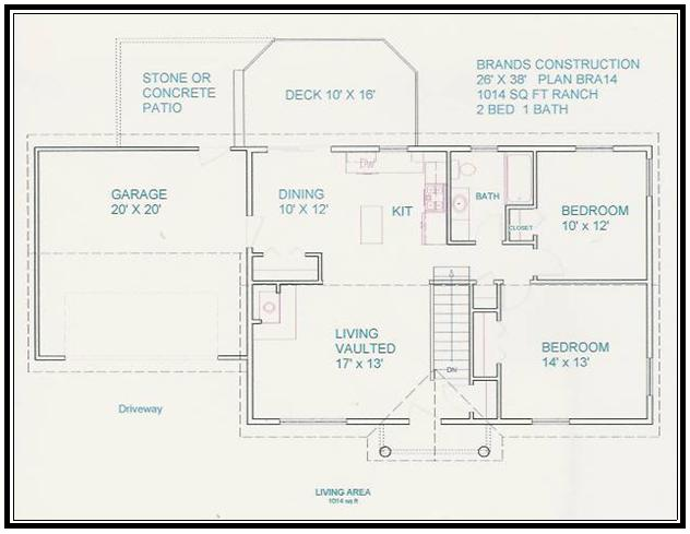 Free home plan 1014 sq ft Construction plans online